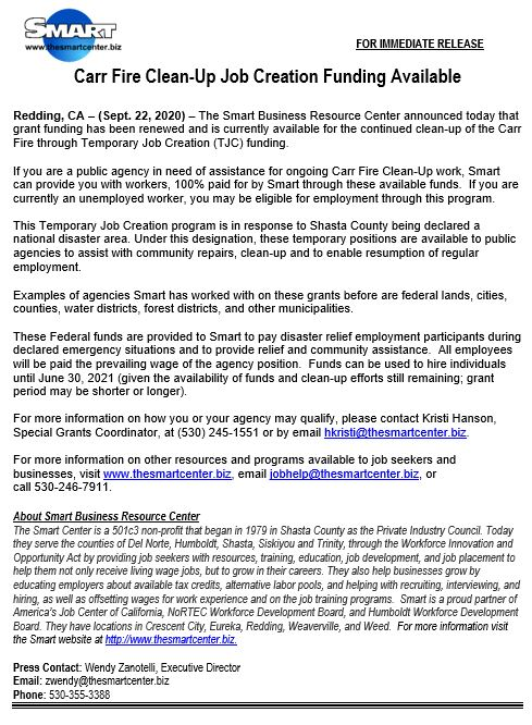Carr Fire Clean-Up Job Creation Funding Available Image