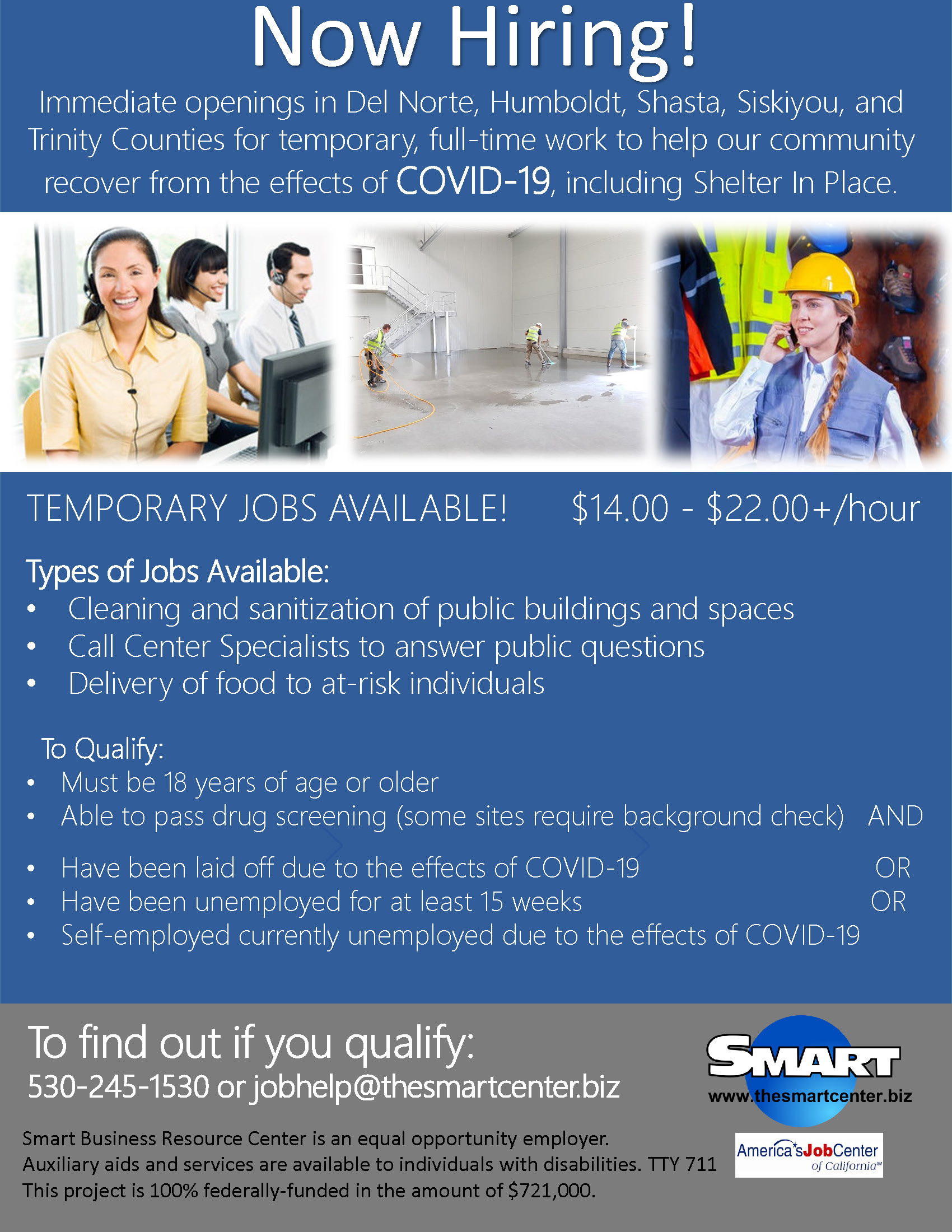 COVID Now Hiring Flyer Image