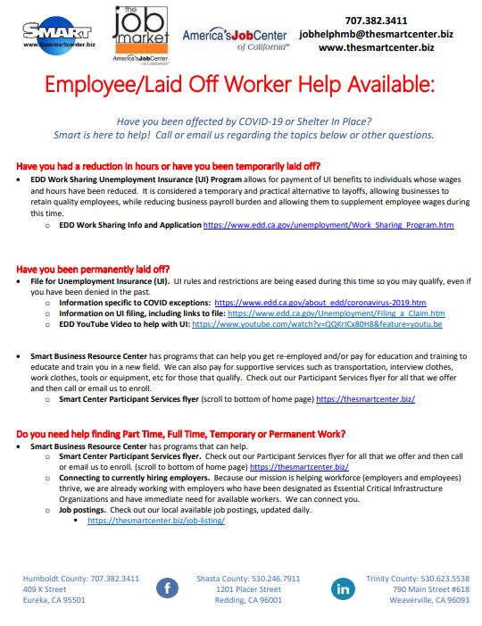 Employee/Laid Off Worker Help Available Flyer